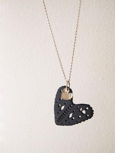 "Papercuts ""i heart"" black necklace"