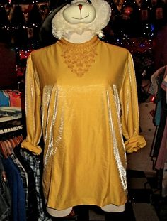 Detailed Polo Neck Blouse In Mustard