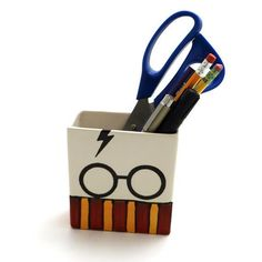 Great gift for Harry Potter fan- Rectangular pencil cup can be used to hold school supplies or art supplies. Accio organization! This is a handmade ceramic piece. It is made from earthenware clay and