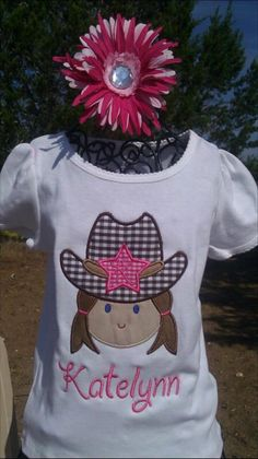 Personalized Cowgirl Western Tee with Hat and by ashlyngracedesign, $20.00