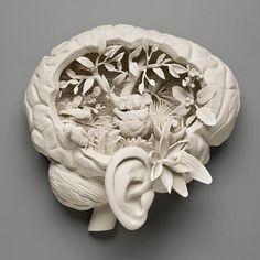"""Solastalgia"" hand built porcelain sculpture by Kate MacDowell, 2010 Kintsugi, Porcelain Ceramics, Ceramic Pottery, Fine Porcelain, Porcelain Tile, Pottery Art, Kate Macdowell, Bokashi, Creepy Cute"