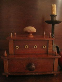 BIN $335 New England Shaker Sewing Spool Thread Caddy 1800s