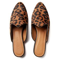 Le Monde Beryl's Leopard Calf Hair Venetian Mules are handcrafted in Italy. Each pair is made with a black leather piping and a memory foam leather insole. Calf Leather, Black Leather, Venetian, Memory Foam, Calves, Loafers, Pairs, Flats, Heels