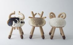 These Kamina & C Stools designed by Takeshi Sawada are too cute! Fake fur!