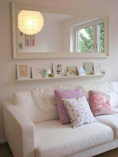 Love the long mirror and shelf underneath