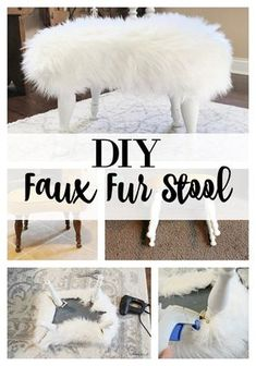 Make this Simple DIY Fur Bench for a fraction of the cost of buying one! Unique Home Decor, Diy Home Decor, Furniture Makeover, Diy Furniture, Faux Fur Stool, Romantic Bedroom Decor, Diy Stool, Diy Ottoman, Home Decoracion