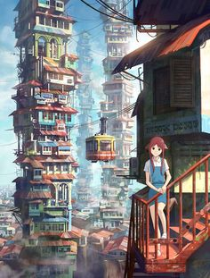I love this one, the stacked houses was an amazing idea. I wonder what triggered this idea to bring it to life like this?..I wish artist would tell us these things. For me, something can trigger a creative idea from something very different from what i am seeing or hearing.