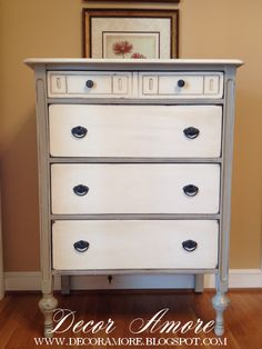 Dresser painted in 1 part French Linen and 1 part Old White...colors of Chalk Paint® by Annie Sloan. Drawers painted in 1 part Old White and 1 part Pure White...Chalk Paint® colors.