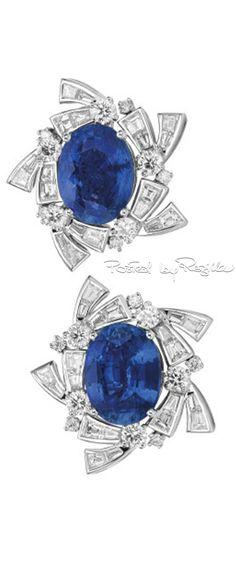 Oval Blue Sapphire Earrings w Baguette Diamond Surround
