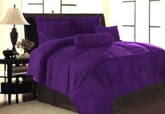 New Solid Purple Micro Suede Bedding Comforter Set King Purple Comforter Sets King Size Comforter Sets, King Size Comforters, Bedding Sets, Purple Pages, Purple Comforter, Plum Bedding, Purple Bedrooms, Purple Home, Deep Purple