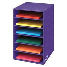 Bankers Box 6 Shelf Organizer Box measuring x 11 x in. is featured with multi-layer construction. This shelf organizer box stores, protects and organizes printouts, reading materials, assignment and art supplies in the classroom. Box Shelves, Storage Shelves, Shelving, Closet Storage, Desk Organization, Classroom Organization, Classroom Decor, Organizing Ideas, Classroom Mailboxes