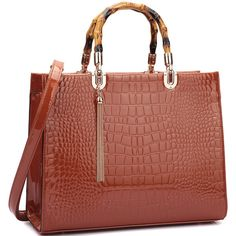 Women's Amphora handbag MMK Collection Fall Bamboo Design Satchel... ($36) ❤ liked on Polyvore featuring bags, handbags, brown, faux leather handbags, handbag satchel, satchel purses, brown satchel and brown handbags