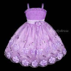 New Flower Girl Princess Wedding Pageant Party Birthday Dress Purple Sz 4 8 Q240 | eBay