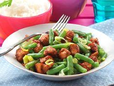 Mézes csirkemellcsíkok, pirított zöldbabbal Recept képpel - Mindmegette.hu - Receptek