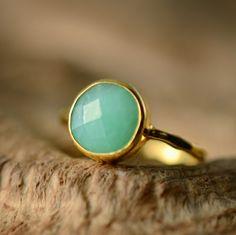 Chrysoprase Ring Gemstone Ring  Gold Ring  Bezel Ring  by delezhen, $62.00