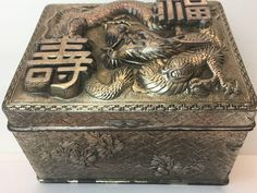 Asian Chinese Dragon Box Silver Tone Metal Wood Hinged Vintage