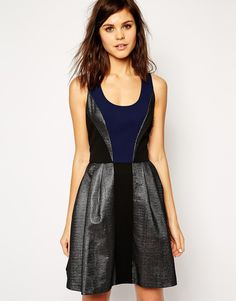 I love combinations of black and dark blue (dress by ASOS) - black and blue skater dress