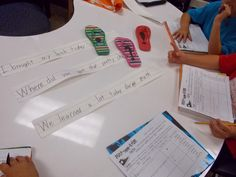 Working with Punct-SHOE-ation! Such a cute idea for a center or small group activity. Free recording sheet!