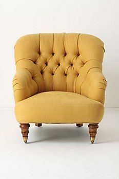 Anthropologie chair. i {heart} mustard yellow!