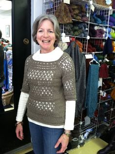 Tracery from Norah Gaughan vol. worn by Jane at The Knitting Studio Knit Patterns, Christmas Sweaters, Pullover, Studio, Knitting, Blouse, Lace, Sleeves, Tops