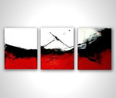 Modern painting - red black white abstract painting - contemporary art - stretched canvas ready to hang - multi panel - wall art deco. $169.00, via Etsy.