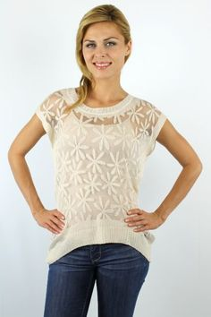 Beige daisy pattern over sized knitted top http://enewwholesale.com/a140709white-clone-en.html