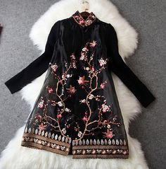 Embroidered Wool Lace Jacket in Black