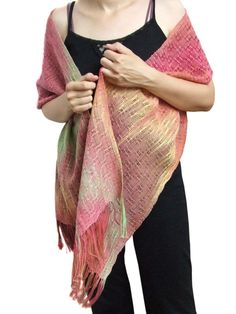 Handwoven  scarf made with handdyed 7/2 by HandweavingbyMima, $125.00