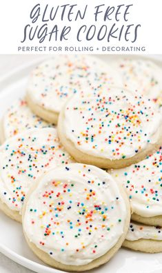 These gluten free sugar cookies are the perfect sweet and simple cookie! Great for traditional or cut out cookies, this recipe makes buttery, soft, and tender cookies you'll love frosting for the holidays or snacking on anytime! Noel Christmas, Christmas Baking, Christmas Cookies, Christmas Recipes, Holiday Desserts, Holiday Baking, Eggnog Cookies, Rolo Cookies, Cookie Recipes
