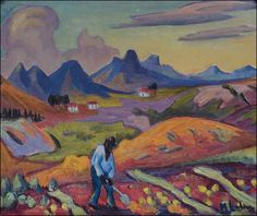 """""""Harvesting the Crop"""" Maggie Laubser Simple Art, Easy Art, South African Artists, International Artist, Old Master, Local Artists, Landscape Art, Art Pictures, Cool Art"""
