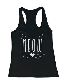 Meow Cute Kitty face Women's Tanktop Black Sleeveless Tank for Cat Lovers