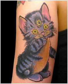 Cat tattoo Designs (13)- its kinda creepy, but the coloring is really cool