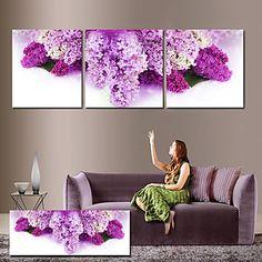 Stretched Canvas Art Floral Purple Petals Set of 3 – AUD $ 71.26