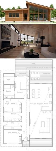 Small House Plan, Floor plan with three bedrooms, modern architecture