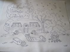 I Love My Vintage Trailer embroidery piece to do Whimsical Original RV camping. $14.00, via Etsy. No longer available Cross Stitch Embroidery, Embroidery Patterns, Hand Embroidery, Colouring Pics, Coloring Pages, Needlepoint Stitches, Needlework, Vintage Trailer Decor, Punch Needle Patterns