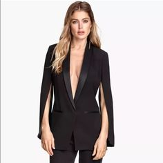 H&M conscious collection silk cape tuxedo/blazer H&M Conscious Collection 2015  Black Organic Mulberry Silk Tuxedo Blazer size US 4 Brand new with tags sold out everywhere! H&M Jackets & Coats Capes