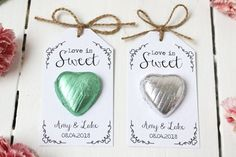 Love is Sweet Chocolate Heart Wedding Favour by LittleIndieStudio Sweet Wedding Favors, Chocolate Wedding Favors, Wedding Sweets, Wedding Invitations, Wedding Ideas, Chocolates, Sunflower Wedding Decorations, Chocolate Hearts, Wedding Planning Websites