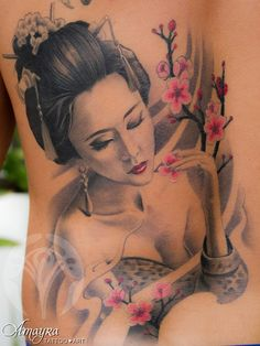 Geisha tattoo I WANT this, but with a fan in her hand, hiding half her face.