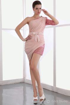 Satin Zipper Sheath/Column Half-Sleeve Short/mini Shoulder One Natural Ruched/Belt/Bow/Sequins Pink Silk-like Elegant/Luxurious Chiffon/Elastic Cocktail Dress