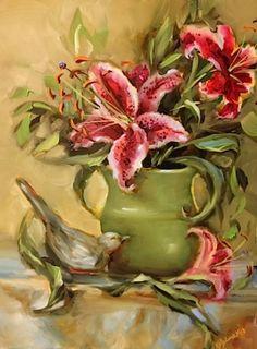 Summer Born Stargazers by Texas Flower Artist Nancy Medina, painting by artist Nancy Medina