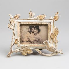 Small Woodland Bird Photo Frame Whitewash