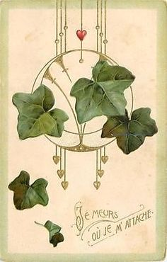 Art nouveau postcard with ivy - 1915 postcard - French