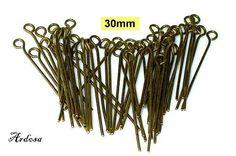 50 Kettelstifte Nietstifte mit Öse bronze 30mm  von Schmuckmaterial