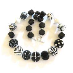 Kazuri Beaded Necklace Ceramic Necklace  Fair Trade Black