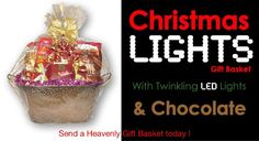 "50% off Christmas gift baskets! ""Christmas Lights Basket"" promo. Limited time offer."