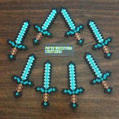 Minecraft diamond swords perler beads by pkmnmastertash