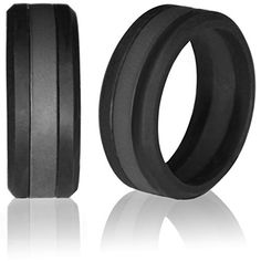 Silicone Wedding Band by Knot Theory (Black with Gray / Grey Line, Size 8.5-9) ★8mm Striped Band for Superior Comfort, Style, and Safety