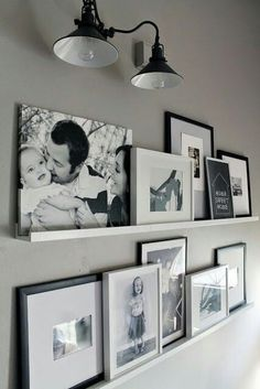ideas for apartment living room ikea picture ledge Living Room Shelves, Chic Living Room, Living Room Decor, Room Wall Decor, Bedroom Wall, Bedroom Black, Bedroom Ideas, Bedroom Decor, Galley Wall