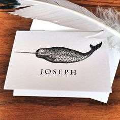Narwhal Personalized Stationery for Men or Women Thank You Note 100% Cotton Savoy Paper  - Set of 12 - FREE Gift Wrap on Etsy, $15.00