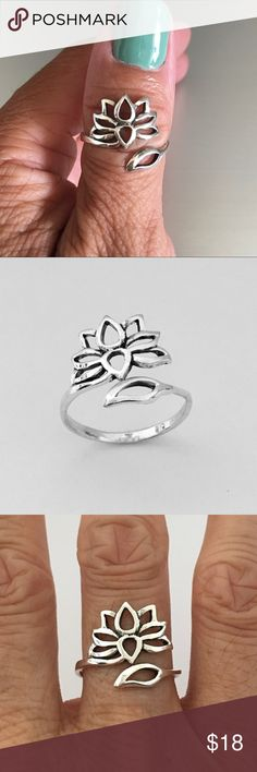 Sterling Silver Lotus Flower Ring Sterling Silver Adjustable Lotus Flower Ring, Pinky Ring, Index Ring, Thumb Ring, Flower Ring, 925 Sterling Silver, Face Height 14 mm (0.55 inch), PLEASE VISIT MY SITE indigoandjade.com Jewelry Rings